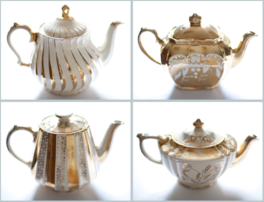 vintage gold and white teapots for hire