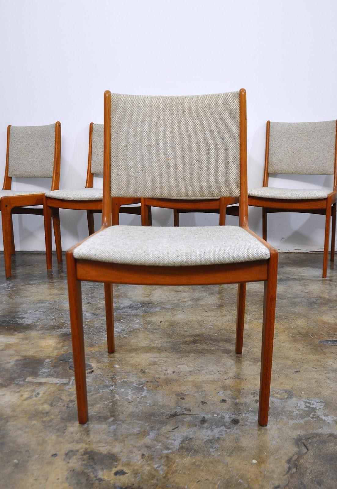 Select modern set of danish teak dining chairs