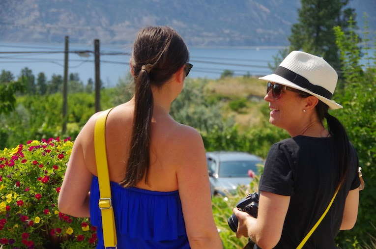 Girls overlook view from Hillside Winery