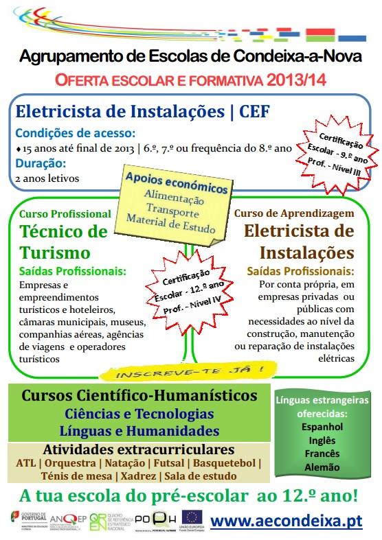 Cursos em Condeixa-a-Nova: CEF, Aprendizagem e Profissional (2013 / 2014)