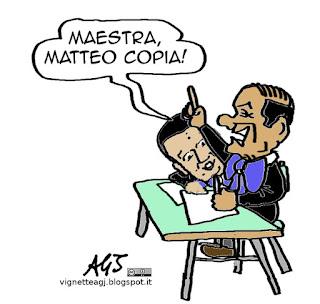 Renzi, Berlusconi, programma, vignetta satira