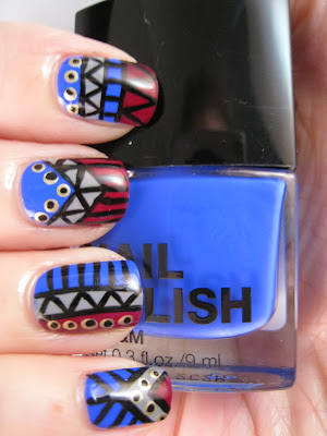 Tribal-nail-art-blue-grey-red-gold-H&M-Blue-My-Mind