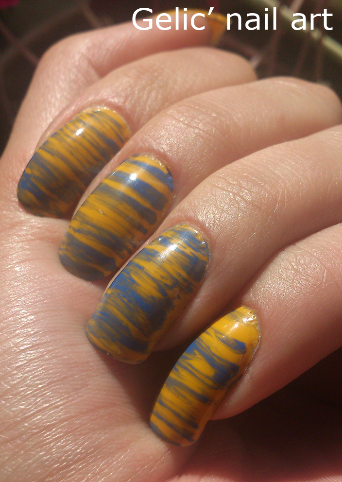 Gelic Nail Art Fan Brush Nail Art In Yellow And Blue