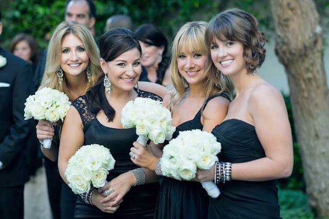 Bacara Resort Bridesmaids Bouquets Black and White