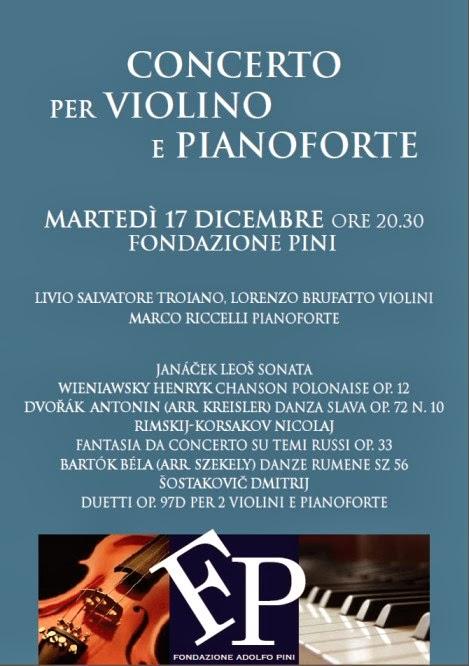 Concerti ad ingresso gratuito a Milano: martedì 17 dicembre in Fondazione Pini concerto per violino e pianoforte