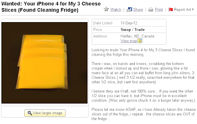Looking to trade Your iPhone 4 for My 3 Cheese Slices I found cleaning the fridge this morning.