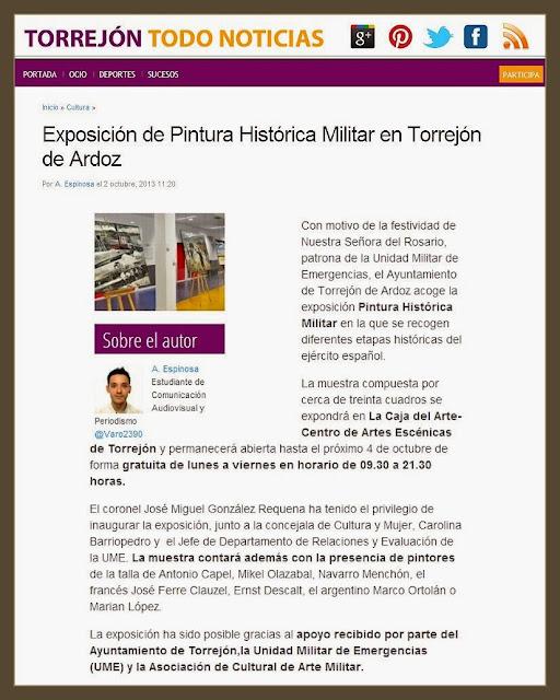 TORREJON DE ARDOZ-NOTICIAS-PINTURA-ARTE MILITAR-CUADROS-PINTOR-ERNEST DESCALS