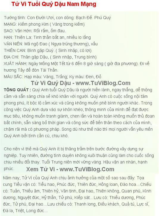 Tu Vi Tuoi Quy Dau 1993 Nam Mang