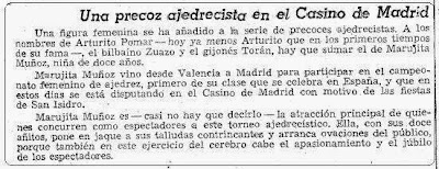 Una precoz ajedrecista en el Casino de Madrid, artículo de La Vanguardia de 16 de mayo de 1950