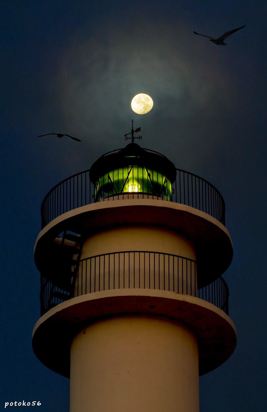 el faro de Rota con la luna menguante y las gaviotas