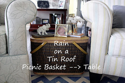 Picnic Basket turned Table {rainonatinroof.com} #basket #table #picnic