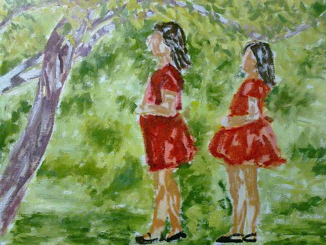 segunda mancha de paisaje al oleo con niñas