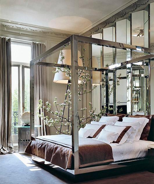 a bedroom in elie saabu0027s paris apartment photo via
