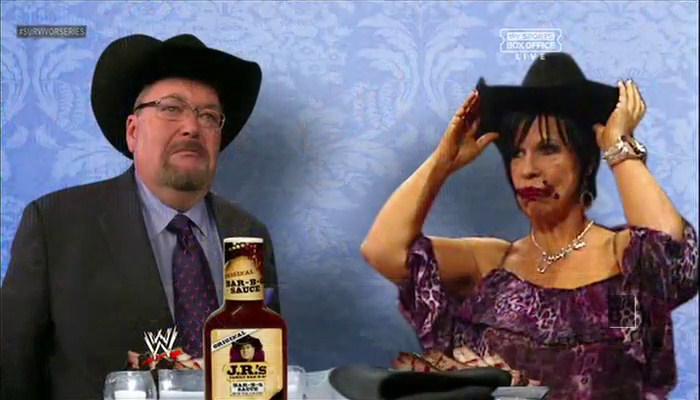 Jim Ross and Vickie Guerrero with JR'S barbeque sauce
