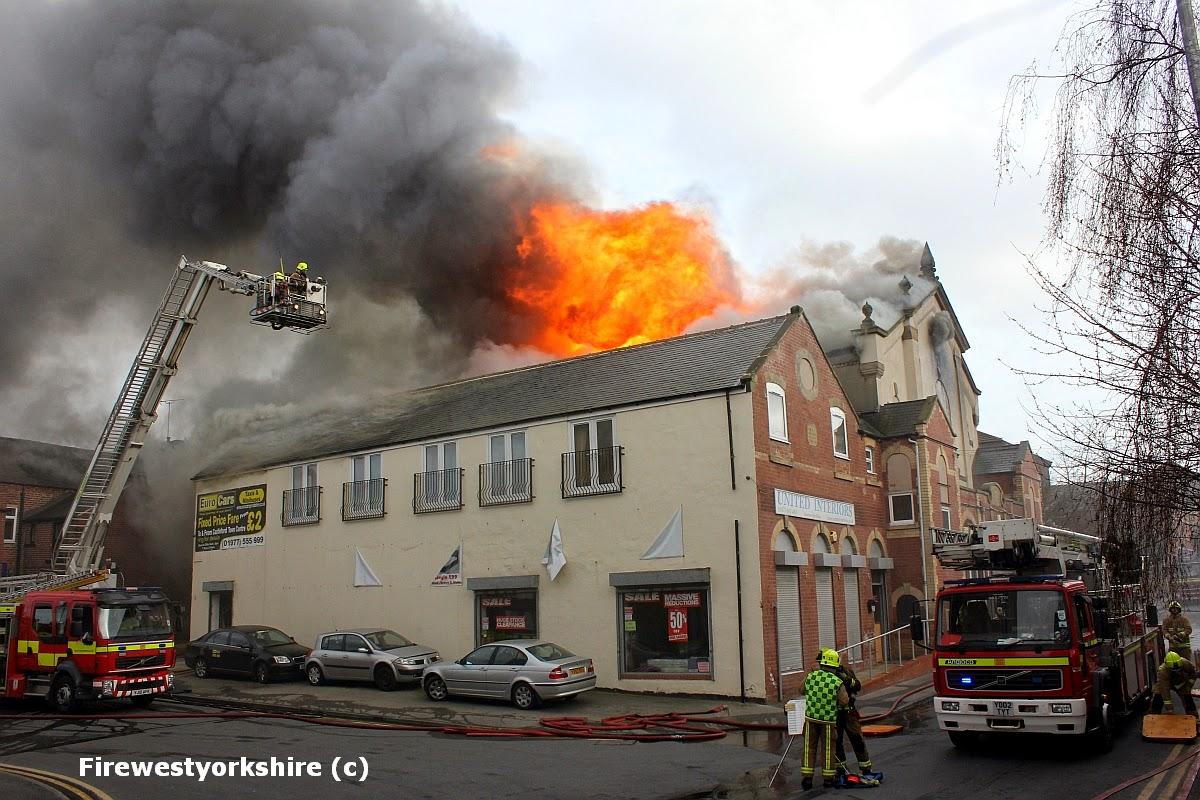Wesley street, castleford, Building, fire, smoke, alp,