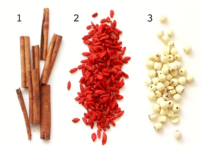 chinese medicinal herbs cassia, wolfberry, lotus nut