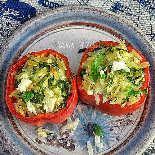 Orzo Stuffed Peppers ~ Delicious side dish or appetizer, with Feta and Arugula #SideDish #StuffedPeppers