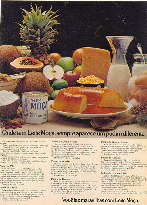 Propaganda do Leite Moça, em 1979, com oito receitas de variações de pudim.