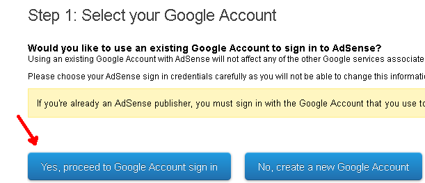Yes, Proceed to Google Account sign in