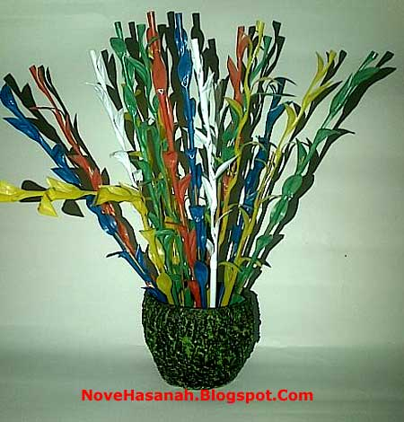 cara membuat bunga dari sedotan plastik