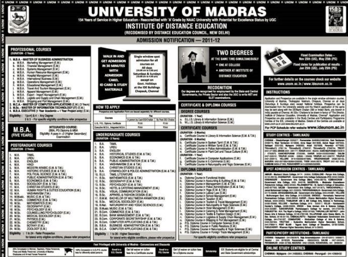 Address and contact details of university of madras distance education