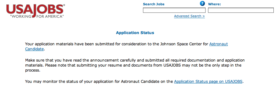 Astronaut Candidate application submitted | Astronaut for Hire