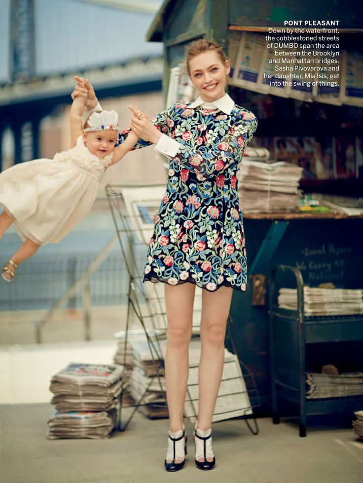 Sasha Pivovarova & Mia photographed by Boo George for Vogue US August 2013 / baby girl, mother & daughter fashion editorials / models & their children / via fashioned by love british fashion blog