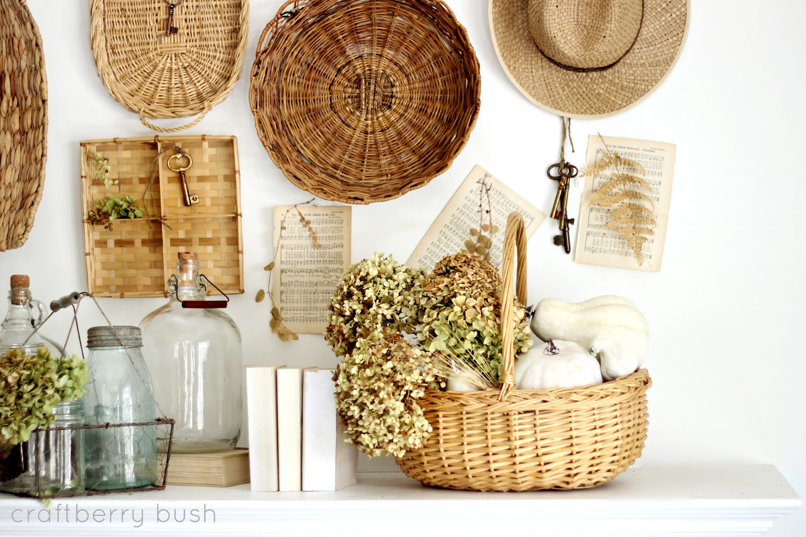 A collection of baskets…my Fall mantel 2012