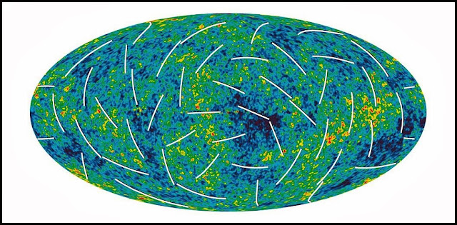 The cosmic microwave background sky, here mapped by NASA's Wilkinson Microwave Anisotropy Probe, has a polarization, represented by white bars. Future experiments might measure the polarization with enough sensitivity to prove the existence of gravitons, the quanta of gravity. WMAP SCIENCE TEAM/NASA