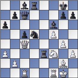 Partida de ajedrez Sanz-Pomar, Lugo 1955, posición después de 23…Txe3