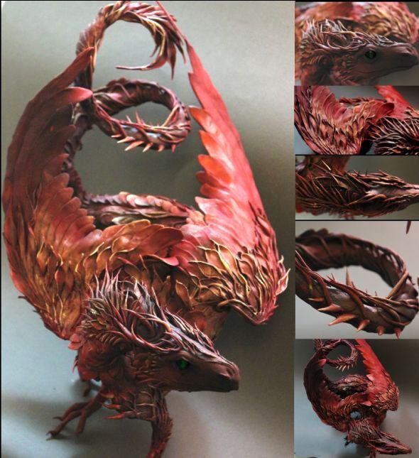 Ellen Jewett CreaturesFromEl deviantart esculturas surreais mixed animais Dragão vermelho