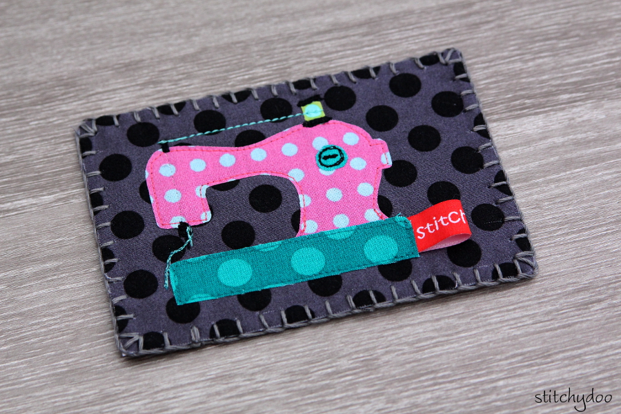 stitchydoo: Stoffkartentausch | Meine genähten Karten im November - applizierte Nähmaschine