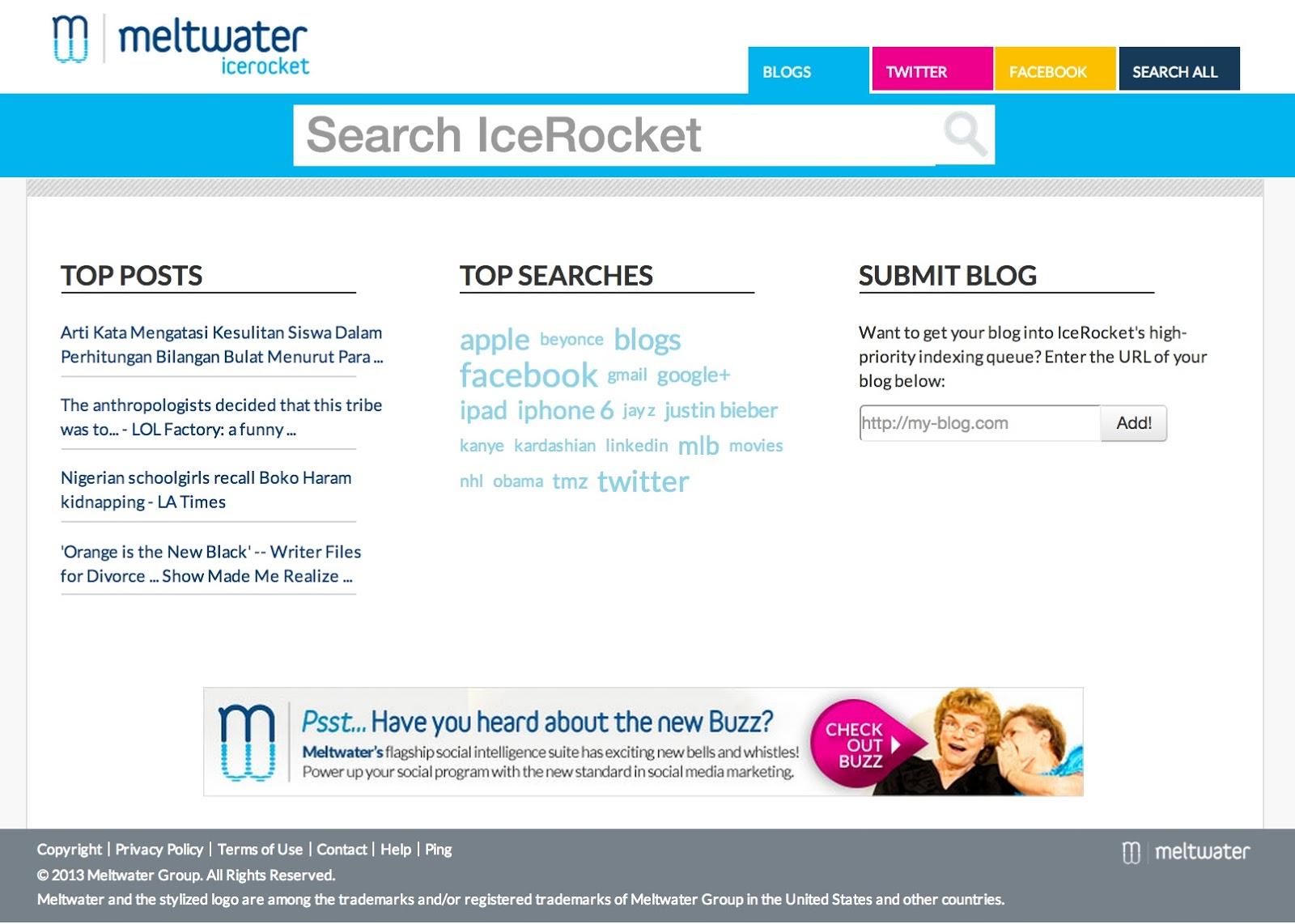 IceRocket home page
