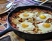 Refried Bean Sauce with Eggs on Top