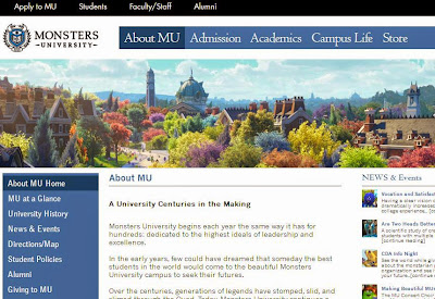 Monsters University website