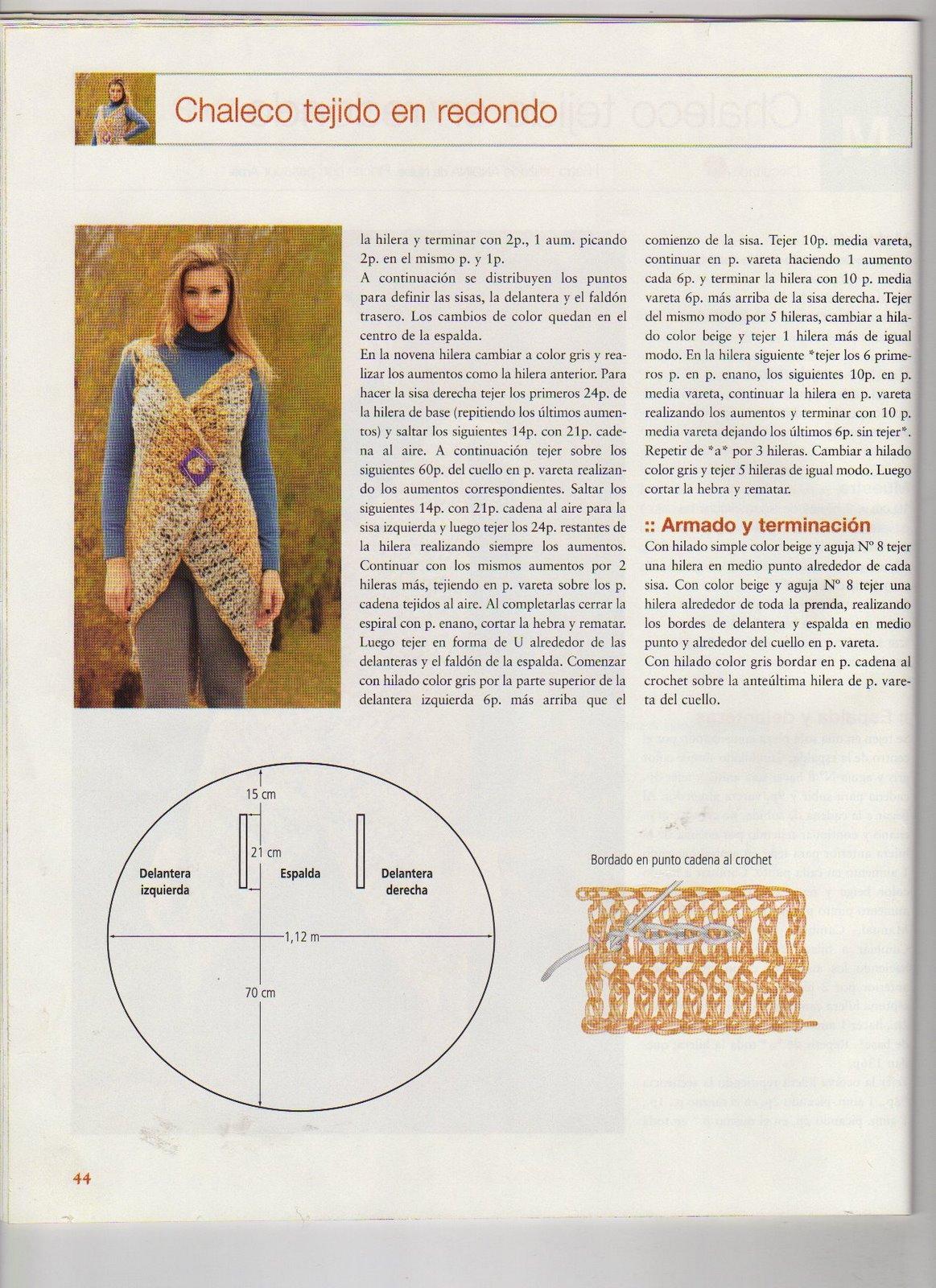 """... BELLA PATRONES Y GRÁFICOS CROCHET """": Chaleco Circular a Crochet"""