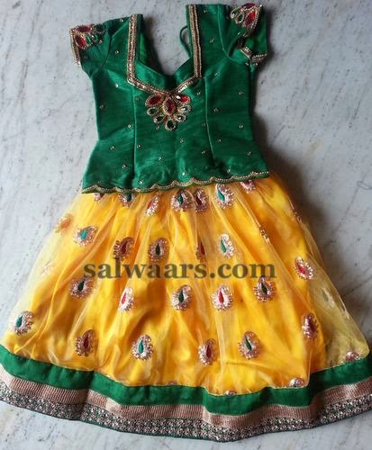 Yellow and Green Paisley Motifs Skirt