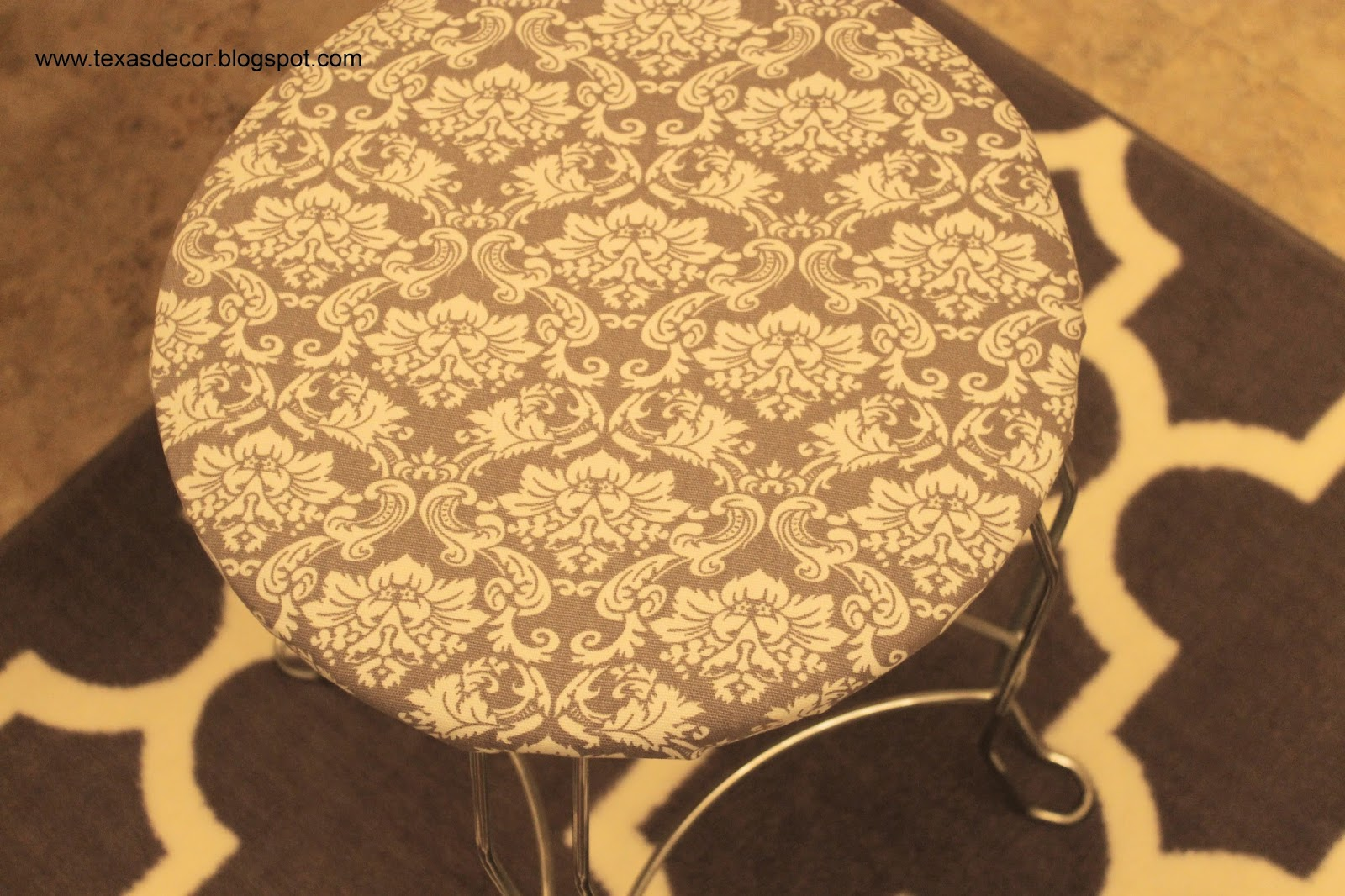 grey and white fabric for vanity stool