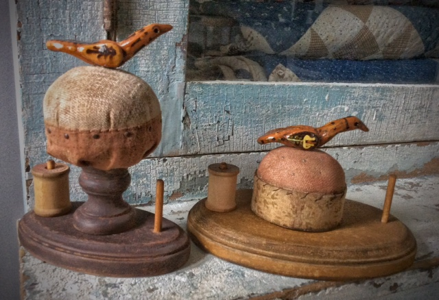Pincushion/Spool Holders with Shooner Red Ware Birds