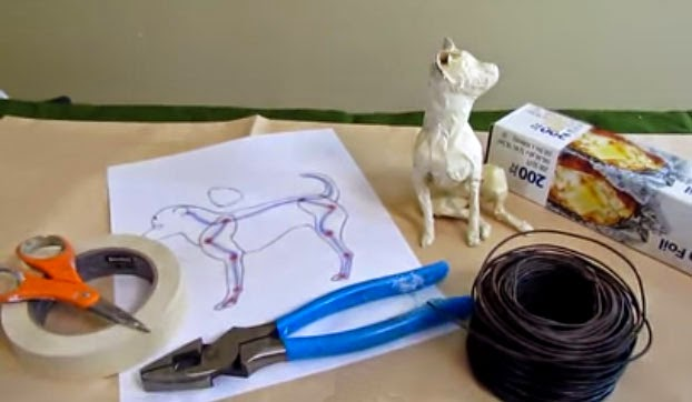 An armature design for a papier mache dog