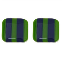 Green & Navy Two Stripe Earrings
