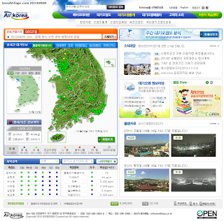 map: quality of air in Korea