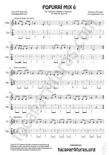 Mix 6 Tablatura y Partitura de Ukele Estaba el Señor Don Gato, Todos los Patitos, Qué llueva Infantil, El Conde Olinos Mix 6 Tablature Sheet Music for Ukelele Music Scores Tabs