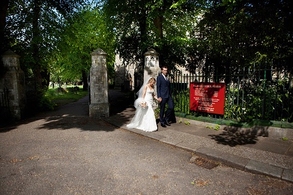Bride and groom outside London Wedding at All Saints Church in Fulham