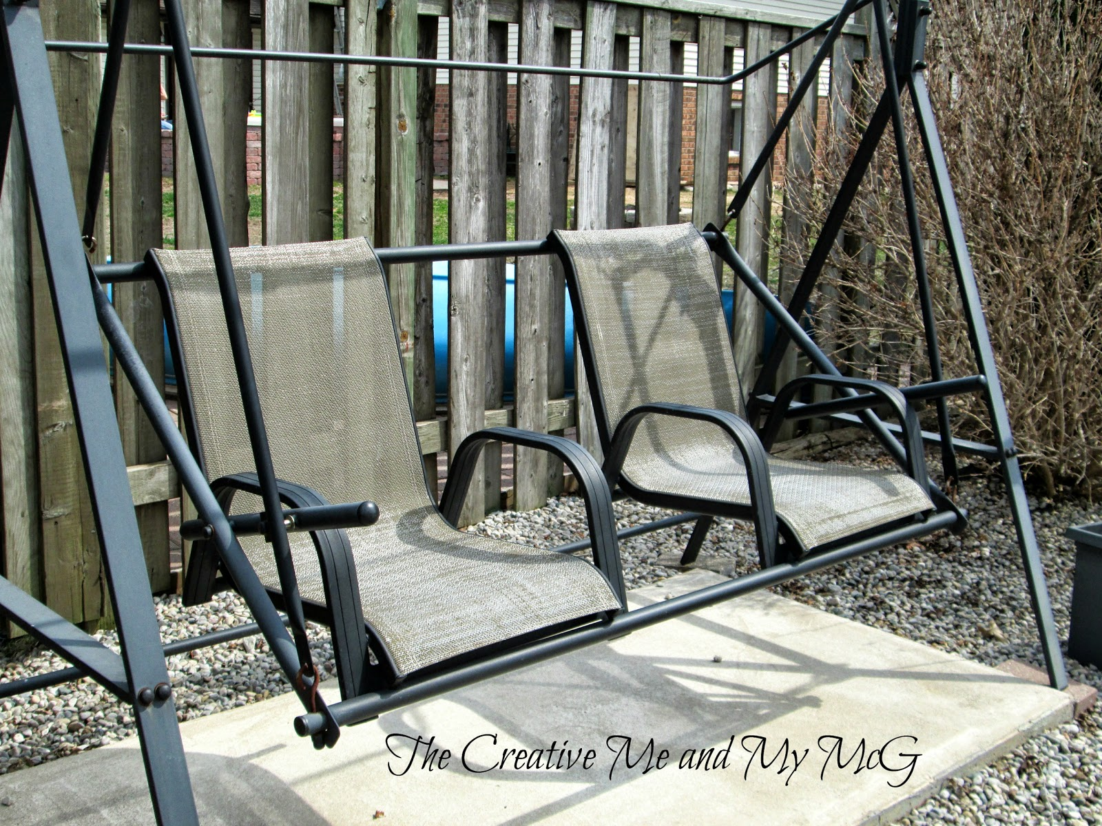 The Creative Me And My McG: Upcycling Patio Chairs To A Garden Swing Seat