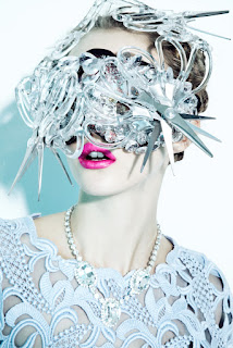 woman wearing mask, scissor make, beauty and fashion photographer nyc