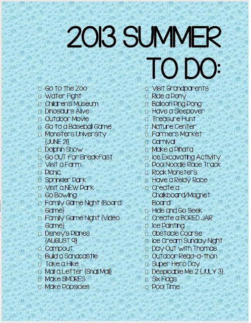 Free Printable 2013 Summer To Do List For Kids