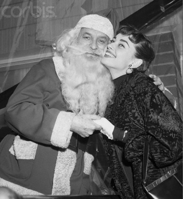 Audrey Hepburn with Santa