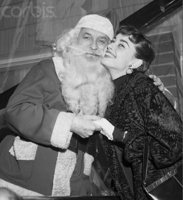 Audrey Hepburn with Santa