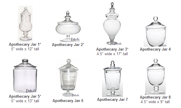 Select different types and sizes of Apothecary jars